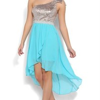 chiffon sequin bow 1 shoulder bod stone waist trim hilo tulip skirt