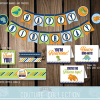 DECOR Package Dinosaur Birthday Party Decoration Stripes Cute Dinosaur Dino Boy Birthday Printable DIY Digital File Instant Download