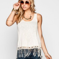 H.I.P. Womens Crochet Trim Tank Cream  In Sizes