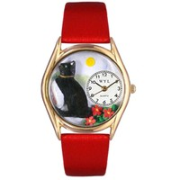 Whimsical Womens Basking Cat Red Leather Watch