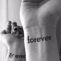 Forever & Ever tattoo - InknArt Temporary Tattoo Set - pack tattoo quote wrist ankle body sticker anchor fake tattoo