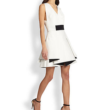 Bicolor Neoprene Flounce Dress