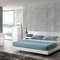 Amore White Lacquer/Natural Wood Bed | Beds SKU17869-BED/1