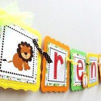 Wild Jungle Safari Birthday Banner for Kids Party | adorebynat - Seasonal on ArtFire