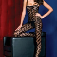 Sheer wavy designed body stocking with open crotch 100% nylon