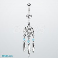 Classic Beaded Dreamcatcher Belly Button Ring