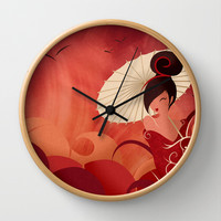 Sakura , Asian Geisha Wall Clock by LouJah