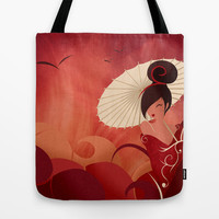 Sakura , Asian Geisha Tote Bag by LouJah