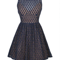 Illusion Lace Dress - Navy