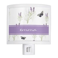 Vintage Lavender Butterfly Personalized Night Lite