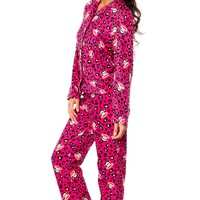 Paul Frank Women's Leopard Print Fleece Pajama Set