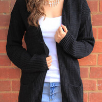 Sirenlondon — Drape Finest Black Cardigan