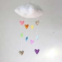 NEW Golden Rainbow Heart Cloud Mobile - Childrens fabric mobile sculpture decoration for baby nursery