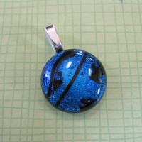Small Dichroic Blue Pendant, Necklace Slide, Fused Glass Jewelry, Blue Jewelry - Chambers - 4201 -3