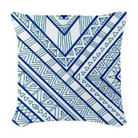 Blue Print Woven Throw Pillow> Shower Curtains and Pillows> art by Erin Jordan