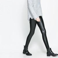 COMBINED FAUX LEATHER LEGGINGS