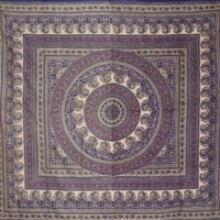 Paisley Mandala Tapestry-Huge Tablecloth-Many Uses-90 x 87