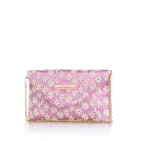 Girls pink floral clutch bag