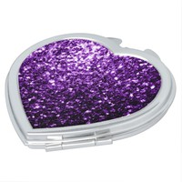 Beautiful Purple glitter sparkles compact mirror