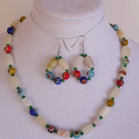 Spring Colors Beaded Necklace Earring Set Multicolor Beads Handmade Jewelry