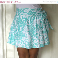 White and Turquoise Blue Mini Skirt with by LoNaDesign