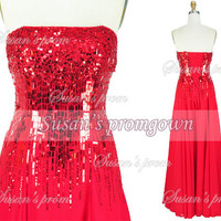 2014 Prom dress Sequin Beads Chiffon Red Dresses, Prom Dress,Evening Dress,Wedding Dresses,Evening Gown,Formal dress,party dress