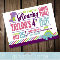Dinosaur Birthday Invitation - Dinosaurs are for Girls too! Girl Birthday Party Printable DIY Digital Invitation File Cute Dinosaurs