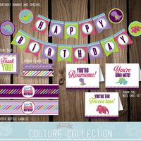 DECOR Package Dinosaur Birthday Party Decoration Stripes Cute Dinosaur Dino Girl Birthday Printable DIY Digital File Instant Download