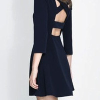 Navy Blue Cross Backless Skater Dress | Goodnight Macaroon