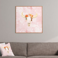 Kangarui Romantic Boho Buffalo Framed Wall Art