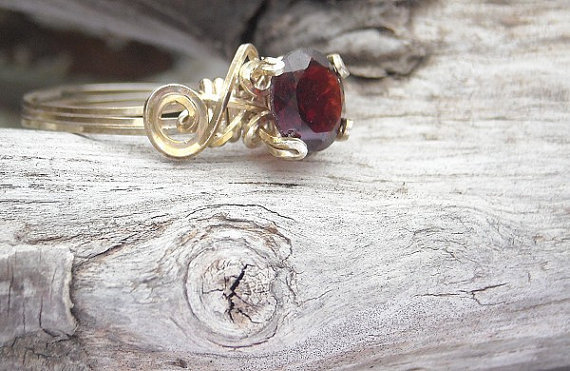 Garnet and Sterling Silver Ring by WindysDesigns on Etsy