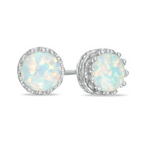 6.0mm Lab-Created Opal Crown Earrings in Sterling Silver - View All Earrings - Zales