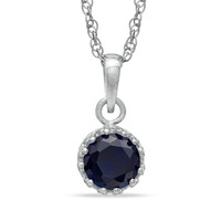 6.0mm Lab-Created Sapphire Crown Pendant in Sterling Silver - View All Necklaces - Zales