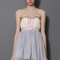 Beads Embellished Color Block Bustier Dress