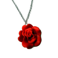 Red Rose Polymer Clay Charm Necklace
