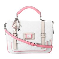 Guess Women's Rianne VY437819 Large Top Handle Flap Handbag (White Multi)