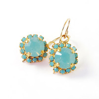 Bridesmaids Gift, Crystal Pacific opal dangle earring, turquoise earrings, 14k plated earrings, 14k gold filled ear wire