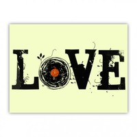 Love the oldies LOVE MUSIC Love Vinyl Records Wood Print