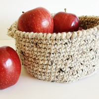 Oatmeal Crochet Fruit Basket Seasonal Home Decor Kitchen or Living Room Organizer Scented Pinecone Basket