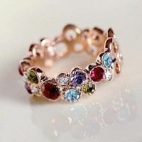 Colorful Rainbow Crystal Knuckle Ring