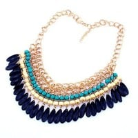 Buy Home Bohemian Layered Round Bead Dangling Drops Statement Bib Necklace