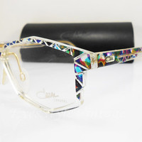 Cazal 513, New Old Stock, V.Rare, Vintage, Crystal Series, Cat Eye, Kitty, Multicolor, Artistic Eyeglasses, Sunglasses, Frames