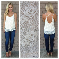 Lace To The Back Tank - CREAM