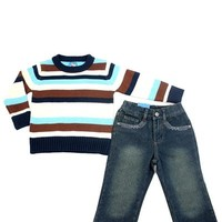 Sweet & Soft Toddler Boy's Striped Sweater & Jeans Set