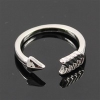 Adjustable silver bow ring