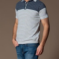 Collezione 100% Cotton Striped Polo Shirt Made In Europe
