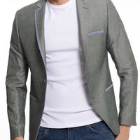 ModaForMen Trimmed Blazer Made In Europe