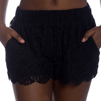 Impossible Dream Floral Crochet Shorts - Black