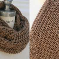 Brown Knit Scarf Knitted Scarf Hand Knit Infinity Scarf Chunky Brown Scarf - By PiYOYO