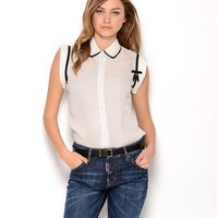 DSQUARED2 Button-Up Bow Silk Blouse- Made in Italy
